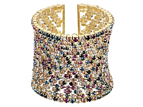Muli-color Crystal Gold Tone Statement Cuff Bracelet