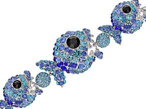 Multicolor Crystal Silver Tone Piranha Fish  Bracelet