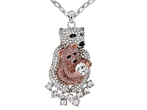 Multi-color Crystal Two-Tone Mother Baby Polar Bear Pendant With Chain
