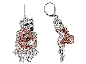 Multi-color Crystal Two-Tone Mother Baby Polar Bear Dangle Earrings