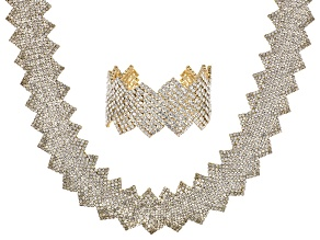 White Crystal Gold Tone Statement Necklace And Bracelet Set