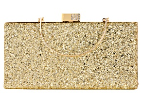 White Crystal Gold Tone Glitter Clutch