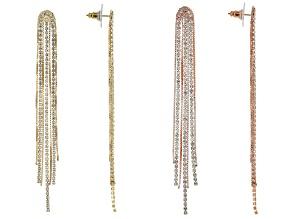 White Crystal Two-Tone Dangle Earrings Set Of 2