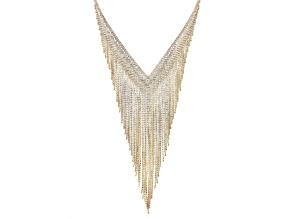 White Crystal Gold Tone Fringe Statement Necklace