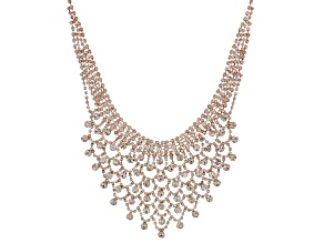 White Crystal Rose Tone Statement Necklace