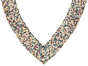 Multicolor Crystal Gold Tone Statement Necklace