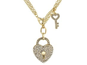 White Crystal Gold Tone Multi Chain Heart Necklace