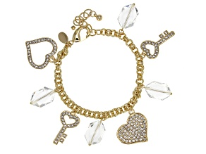 Colorless and White Crystal Gold Tone Heart Charm Bracelet