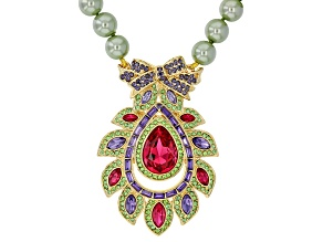Multi-color Crystal And Green Pearl Simulant Gold Tone Necklace