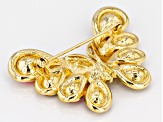 Multicolor Crystal Gold tone Butterfly Brooch