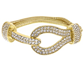 White Crystal Gold Tone Multi Chain Buckle Bracelet
