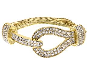 White Crystal Gold Tone Multi Chain Buckle Bracelet
