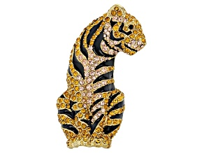 Gold Tone Multi-color Crystal Tiger Brooch