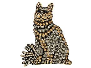 Antiqued Gold Tone Multi-color Crystal Cat  Brooch