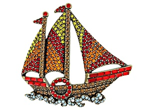 Multicolor Crystal Antiqued Gold Tone Sailboat Brooch