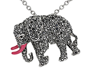 Gray Crystal Silver Tone Elephant Pin/Pendant With Chain