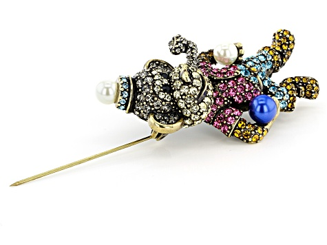 Multicolor Crystal Antiqued Gold Tone Circus Monkey Brooch