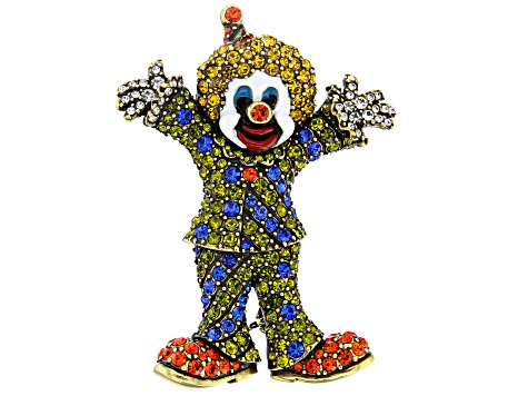 Multicolor Crystal Antiqued Gold Tone Clown Brooch
