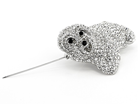 White Crystal Silver Tone Maltese Dog Brooch