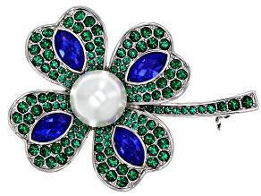 Green & Blue Crystal, Pearl Simlulant, Silver Tone Four-Leaf Clover