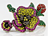 Multicolor Crystal Antiqued Gold Tone Pansy Brooch