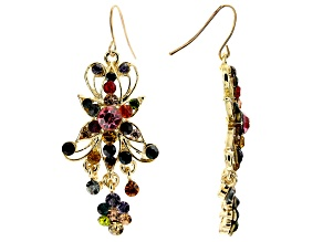 Multicolor Crystal Gold Tone Dangle Floral Earrings