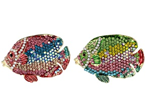 Gold Tone Multi-color Crystal Set of 2 Fish Pin/Pendant
