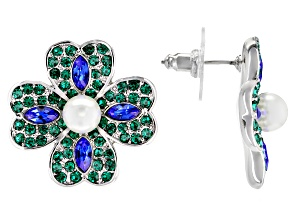 Green & Blue Crystal, Pearl Simlulant, Silver Tone Four-Leaf Clover Earrings