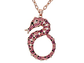 Multicolor Crystal Rose Tone Seahorse Pendant With Chain