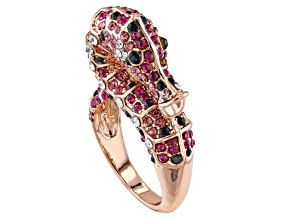Multicolor Crystal Rose Tone Seahorse Ring