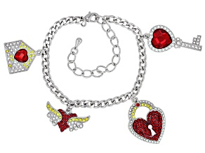 Multicolor Crystal Silver Tone Valentine's Day Charm Bracelet