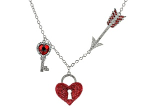 Red Crystal & White Crystal Silver Tone Heart Necklace