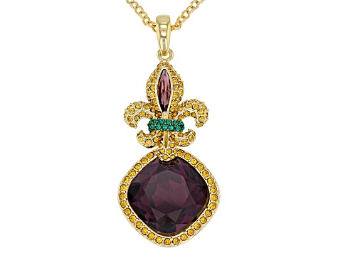 Multicolor Crystal Gold Tone Fleur de lis  Pendant With Chain
