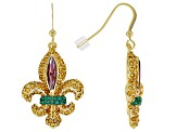 Multicolor Crystal Gold Tone Fleur de lis Earrings