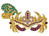 Multicolor Crystal Gold Tone Mardi Gras Mask Brooch