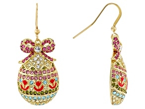 Multicolor Crystal Gold Tone Dangle Easter Egg Earrings