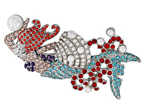 Multicolor Crystal Silver Tone Mermaid Brooch