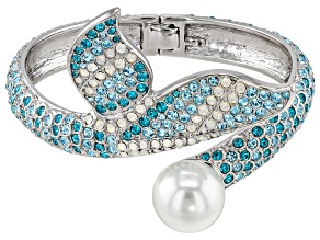 Multicolor Crystal Silver Tone Mermaid Tail Cuff