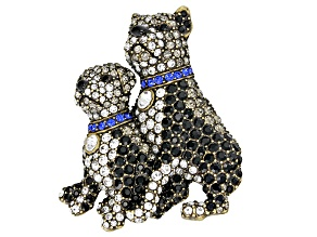Multicolor Crystal Antiqued Gold Tone Pit Bull with Puppy Brooch