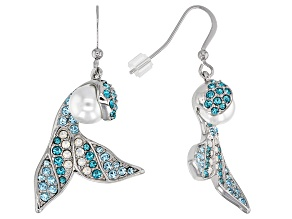 Multicolor Crystal  Silver Tone Mermaid Tail Earrings