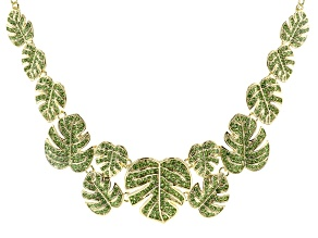 Green Crystal Gold Tone Leaf Statement Necklace