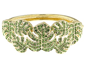 Green Crystal Gold Tone Leaf Bracelet