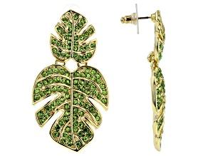 Green Crystal Gold Tone Leaf Dangle Earrings