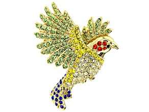 Off Park Collection ® Multicolor Crystal Gold Tone Bird Brooch