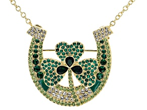 Off Park ® Collection Multicolor Crystal Gold Tone St. Patrick's Day Horseshoe Pin/Pendant