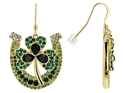 Off Park ® Collection Multicolor Crystal Gold Tone St. Patrick's Day Shamrock & Horseshoe Earrings
