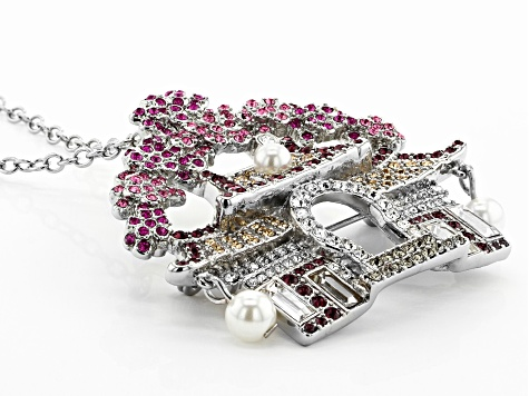 Multicolor Crystal Silver Tone Japanese House Pin/Pendant With Chain