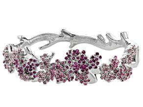 Multicolor Crystal Silver Tone Cherry Blossom Cuff Bracelet