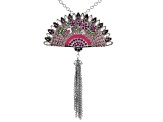 Multicolor Crystal Silver Tone Fan Tassel Pin/Pendant With Chain