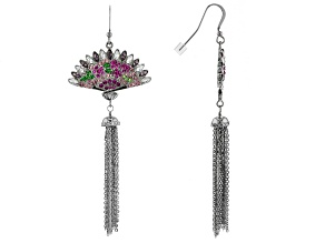 Multicolor Crystal Silver Tone Fan Tassel Earrings